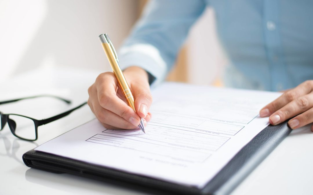 Closeup Business Woman Making Notes Document